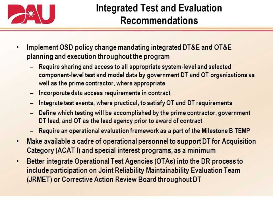 Integrated Test and Evaluation Recommendations