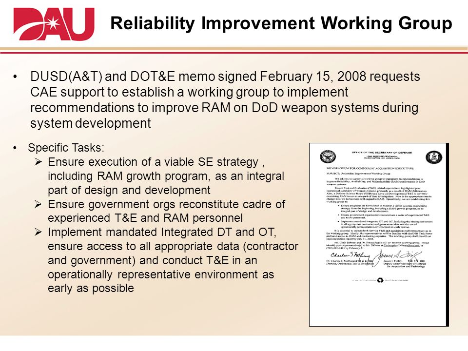 Reliability Improvement Working Group