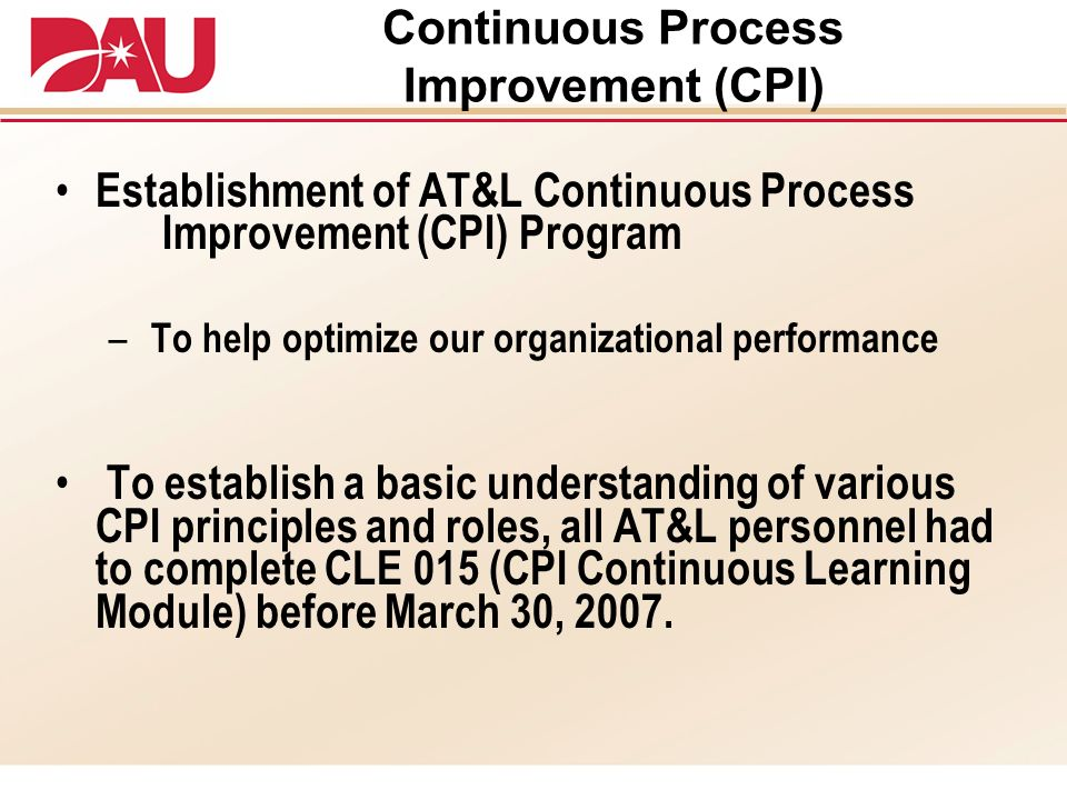 Continuous Process Improvement (CPI)