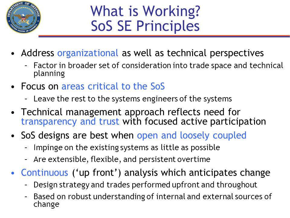 What is Working SoS SE Principles