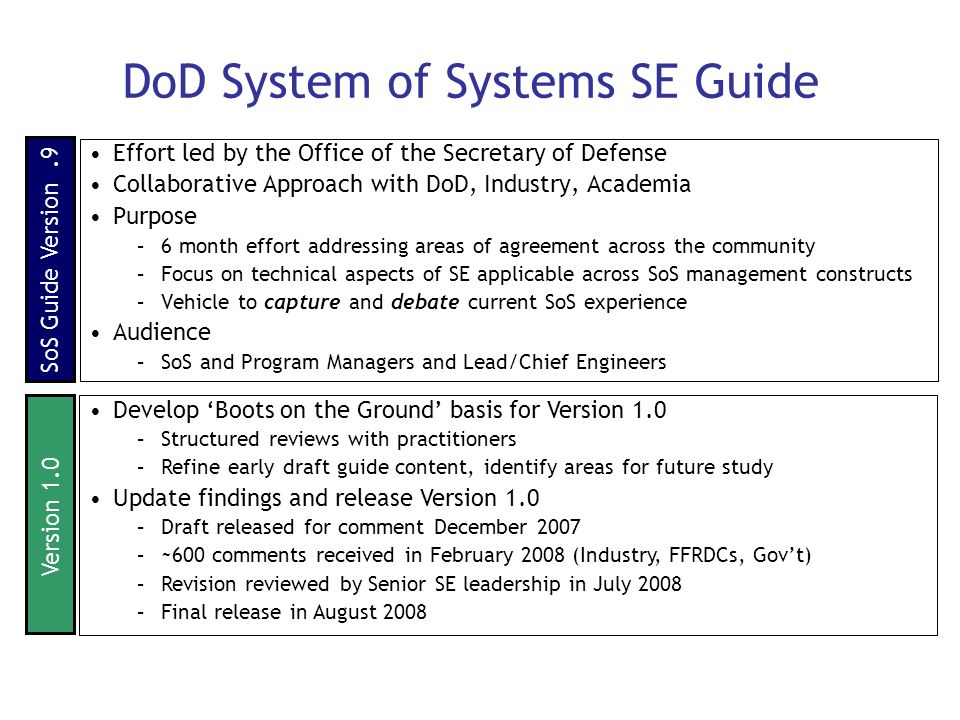 DoD System of Systems SE Guide