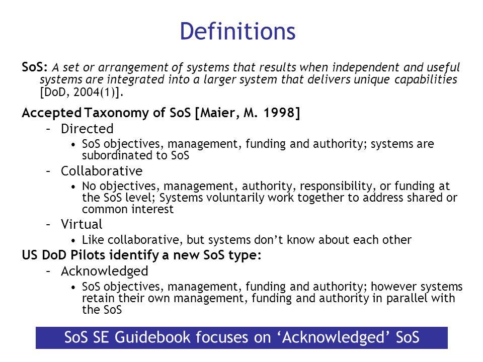 SoS SE Guidebook focuses on 'Acknowledged' SoS