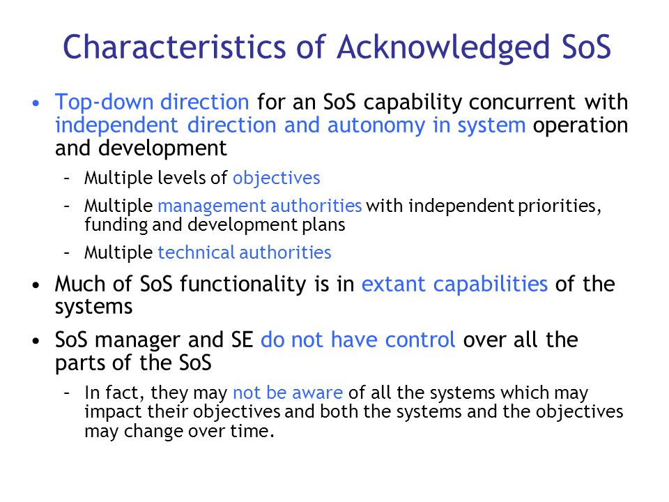 Characteristics of Acknowledged SoS