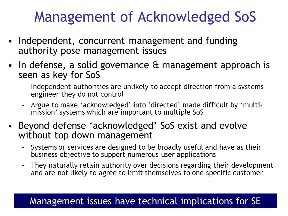 Management of Acknowledged SoS