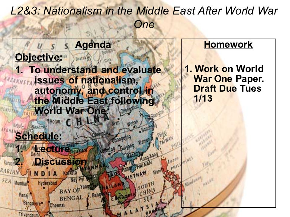 L2&3: Nationalism in the Middle East After World War One