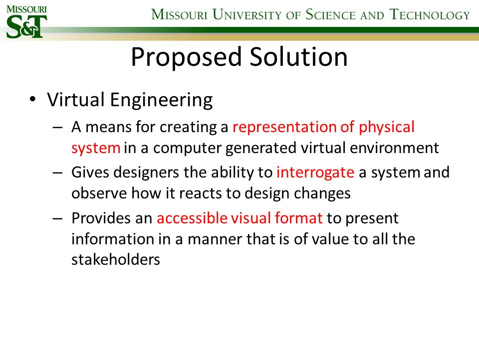 Proposed Solution Virtual Engineering