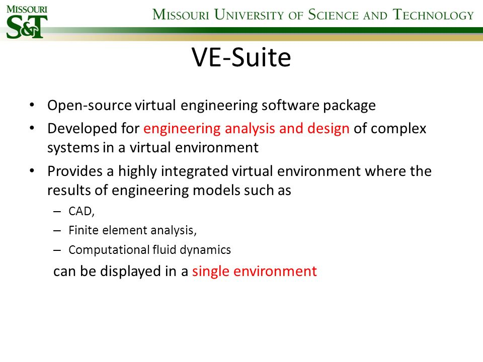 VE-Suite Open-source virtual engineering software package