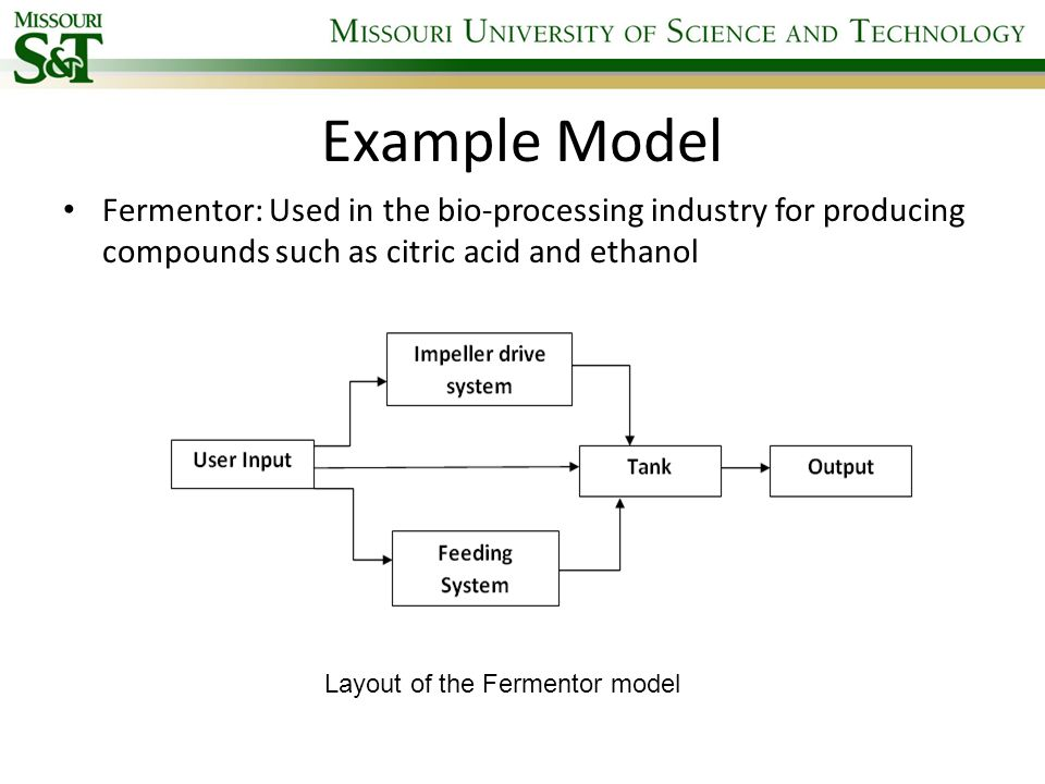 Example Model Fermentor: Used in the bio-processing industry for producing compounds such as citric acid and ethanol.