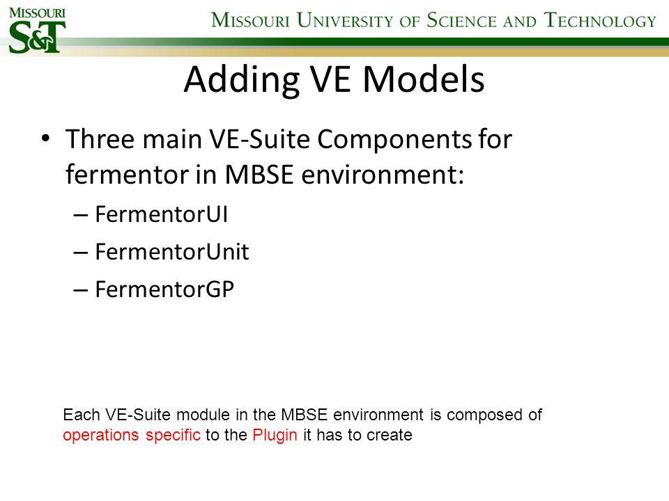 Adding VE Models Three main VE-Suite Components for fermentor in MBSE environment: FermentorUI. FermentorUnit.
