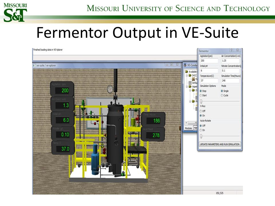 Fermentor Output in VE-Suite