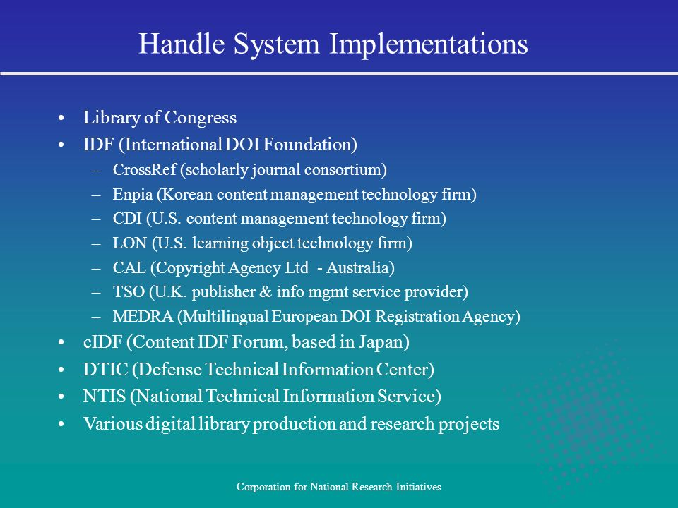 Handle System Implementations