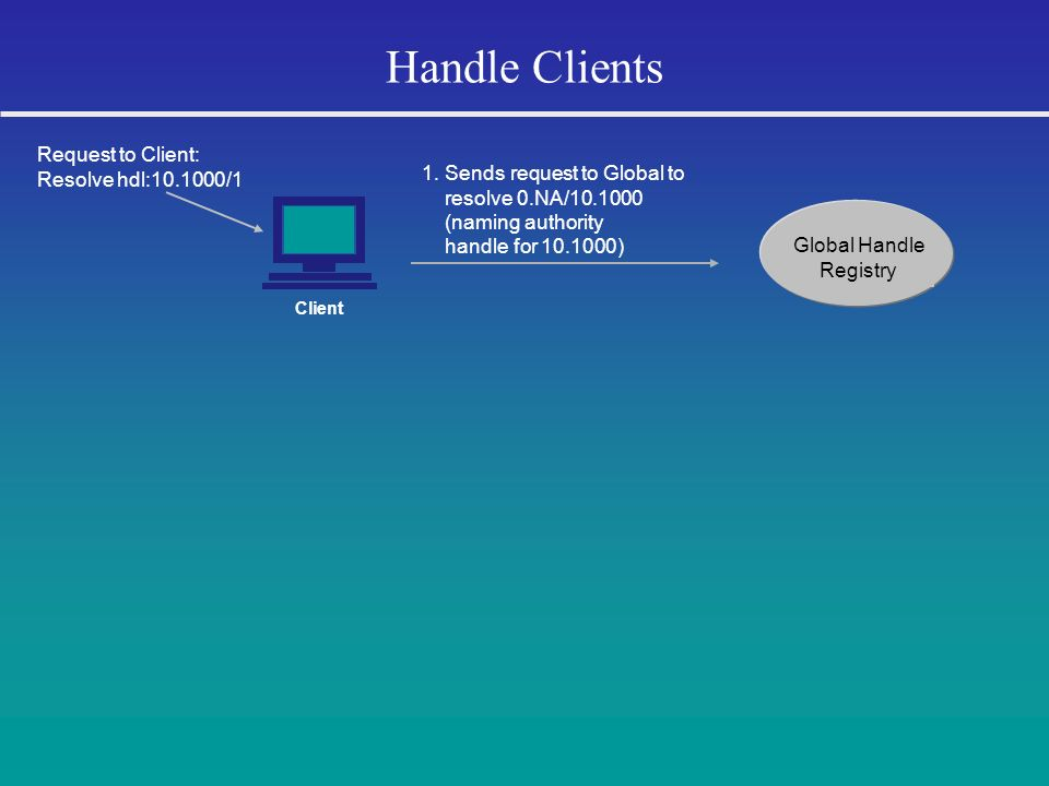 Handle Clients Request to Client: Resolve hdl:10.1000/1