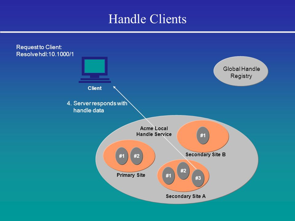 Handle Clients Request to Client: Resolve hdl:10.1000/1 Global Handle