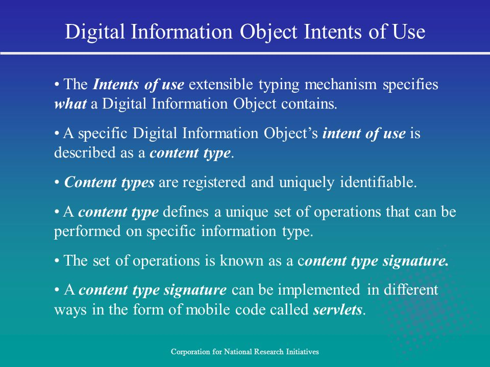 Digital Information Object Intents of Use