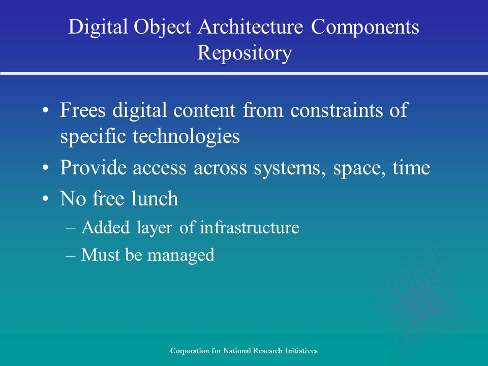 Digital Object Architecture Components Repository