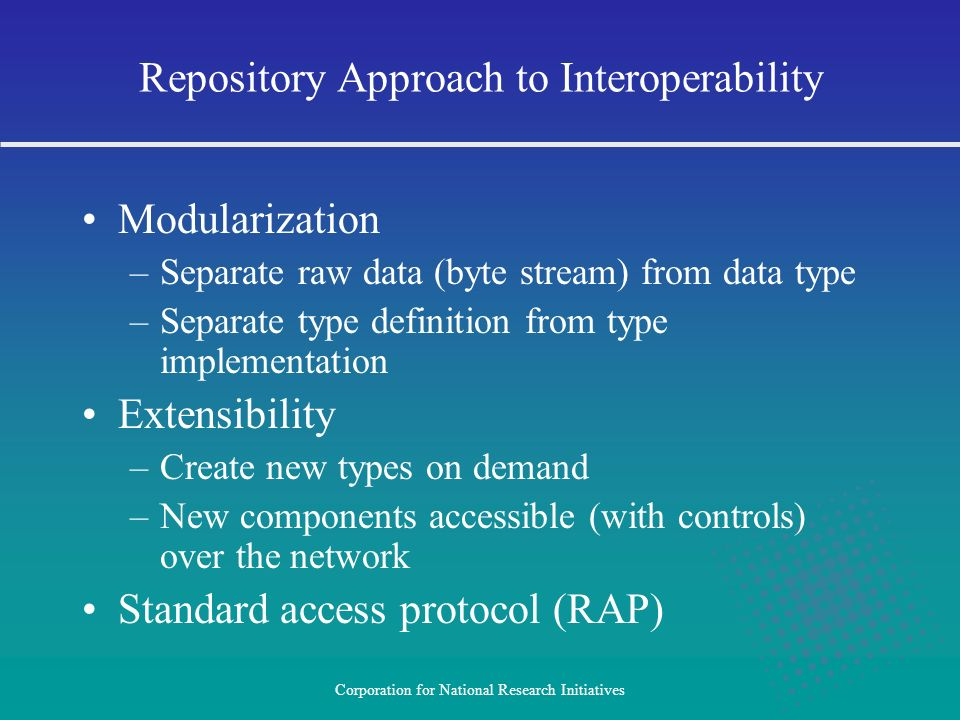 Repository Approach to Interoperability