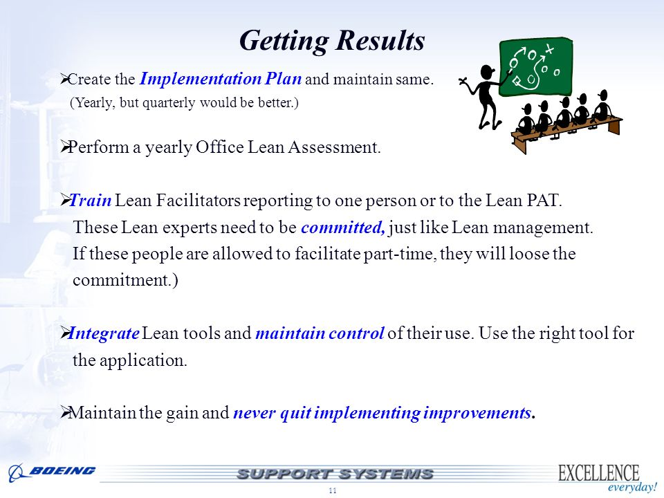 Getting Results Perform a yearly Office Lean Assessment.