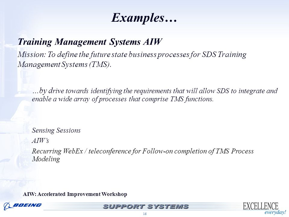 Examples… Training Management Systems AIW