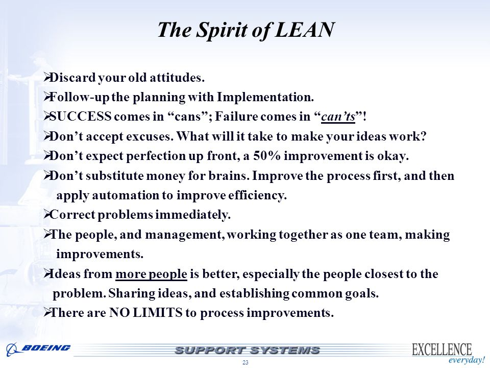 The Spirit of LEAN Discard your old attitudes.