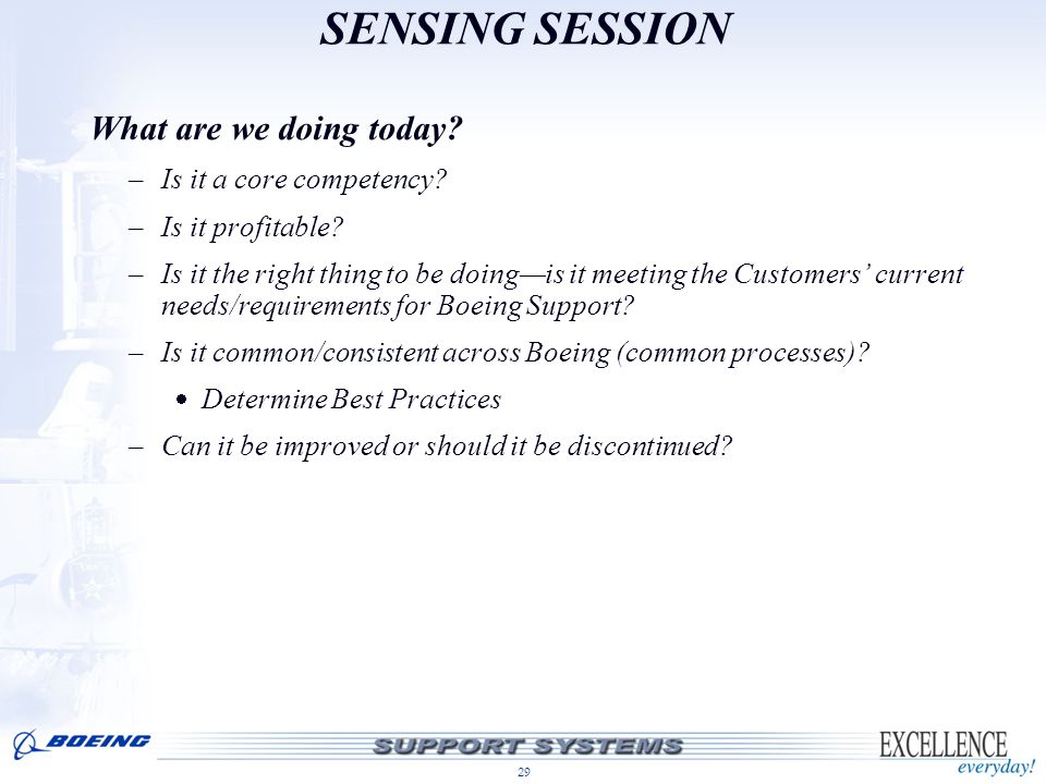 SENSING SESSION What are we doing today Is it a core competency