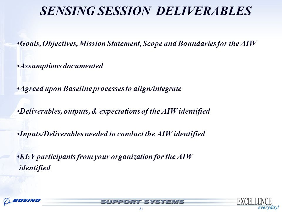 SENSING SESSION DELIVERABLES