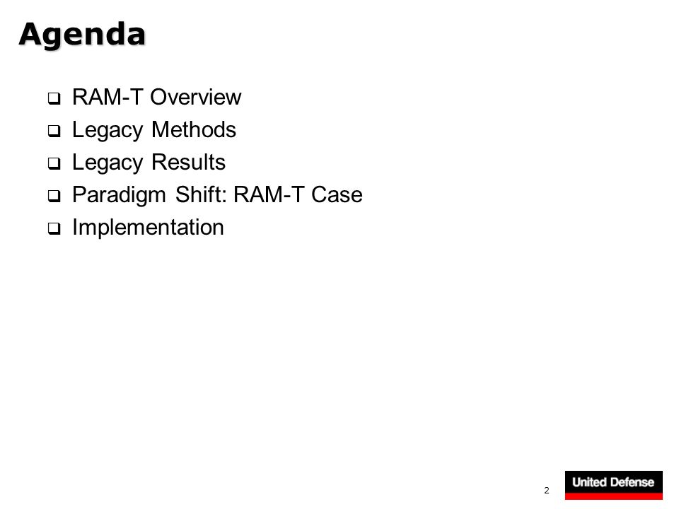 Agenda RAM-T Overview Legacy Methods Legacy Results