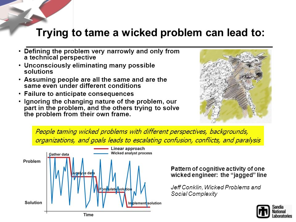 Trying to tame a wicked problem can lead to: