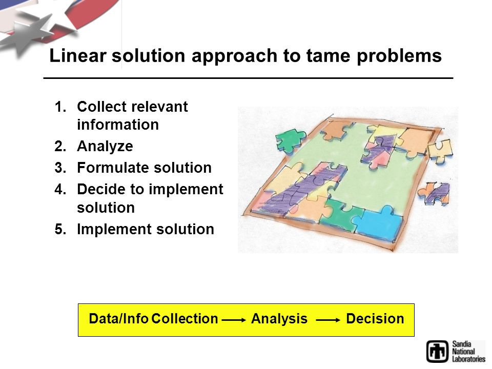 Linear solution approach to tame problems
