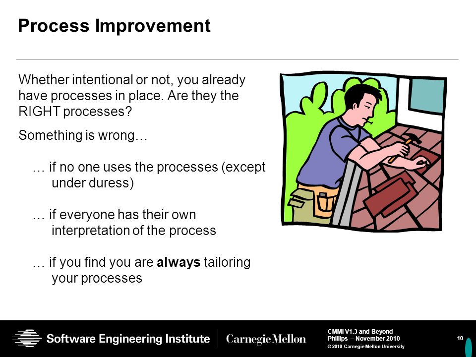 Process Improvement Whether intentional or not, you already have processes in place. Are they the RIGHT processes