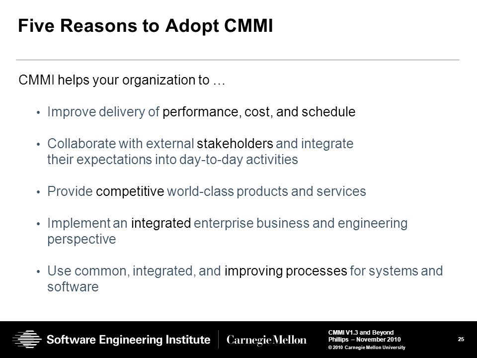 Five Reasons to Adopt CMMI