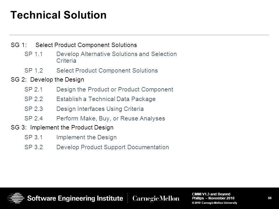 Technical Solution SG 1: Select Product Component Solutions