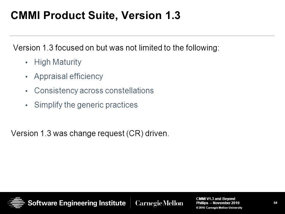 CMMI Product Suite, Version 1.3