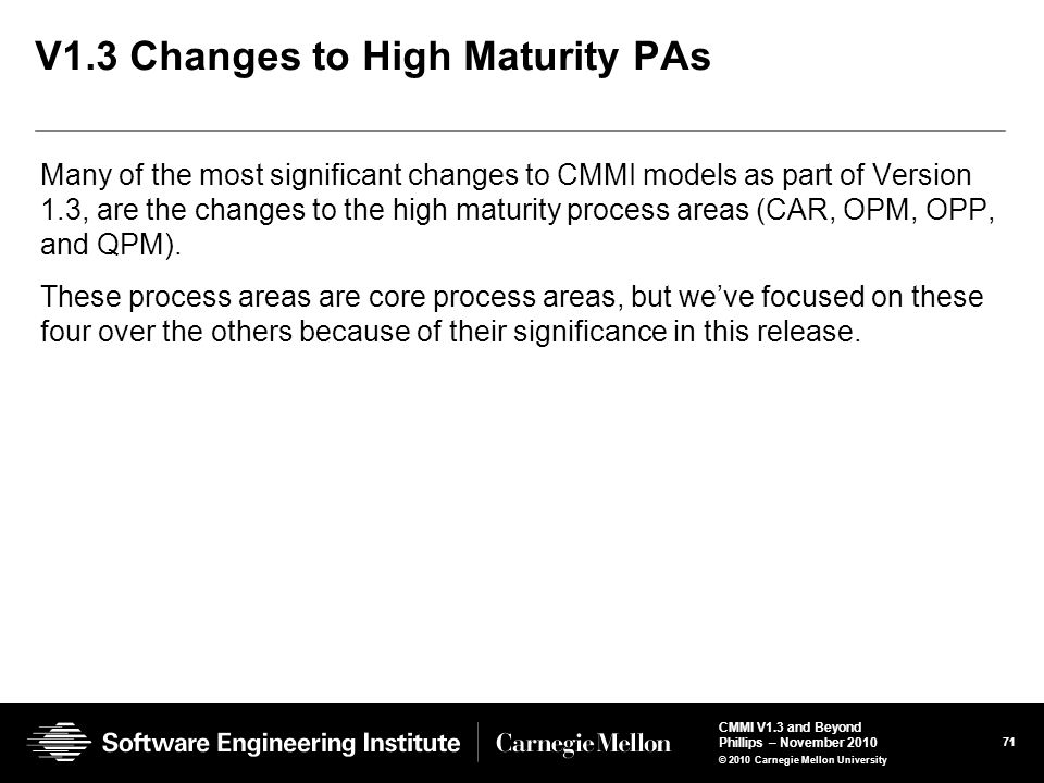 V1.3 Changes to High Maturity PAs