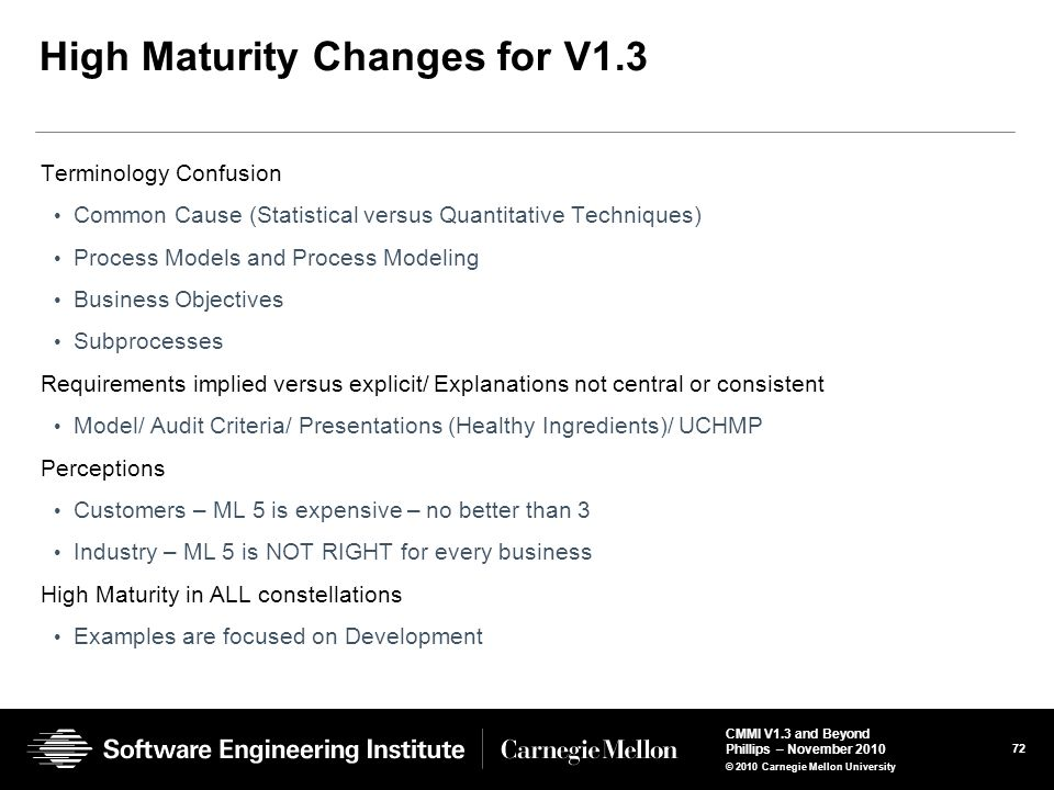 High Maturity Changes for V1.3