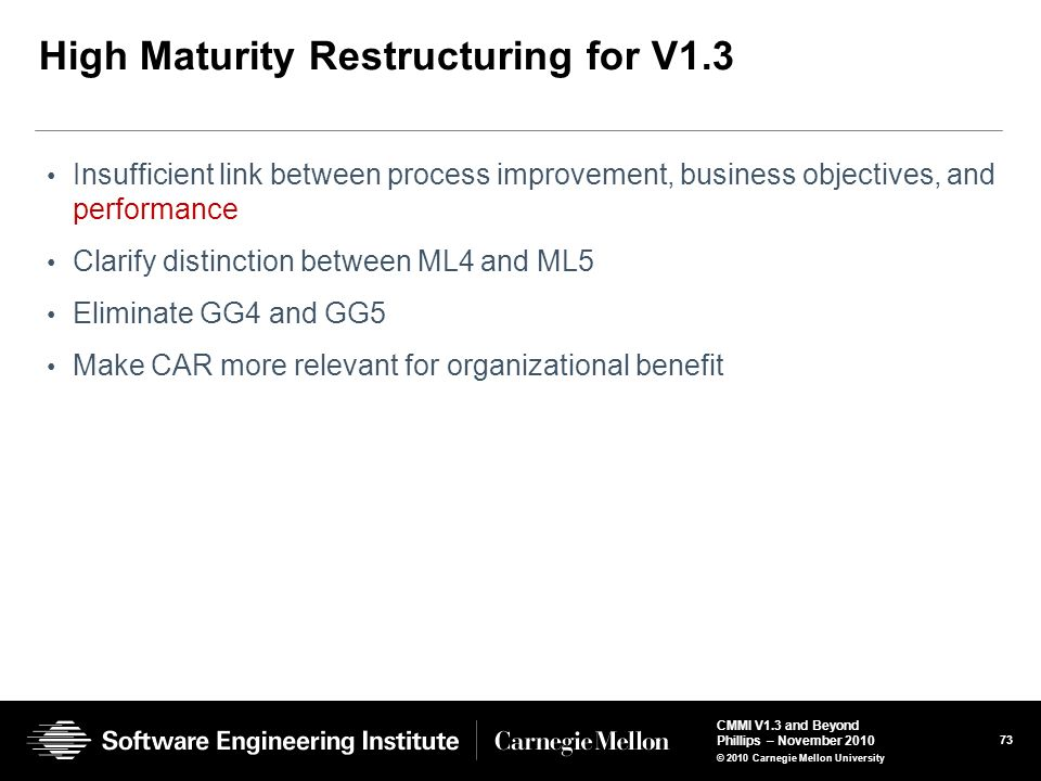High Maturity Restructuring for V1.3