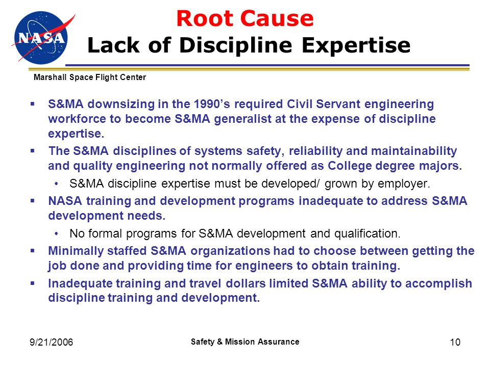 Root Cause Lack of Discipline Expertise