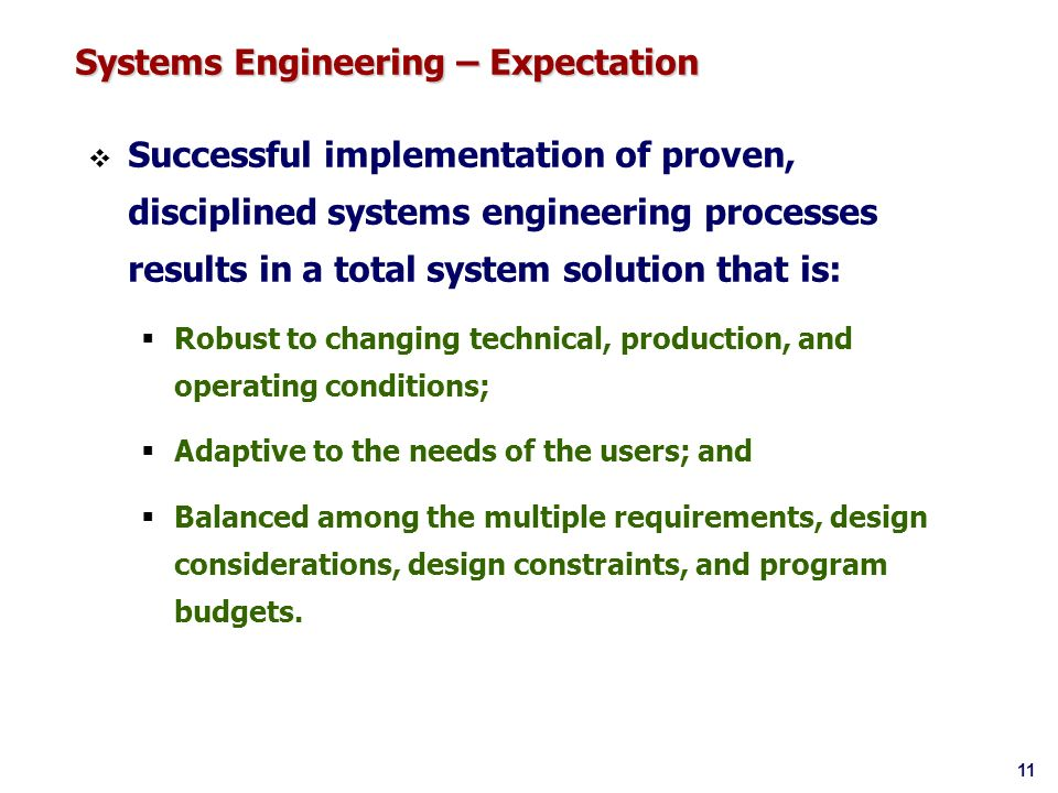 Systems Engineering – Expectation