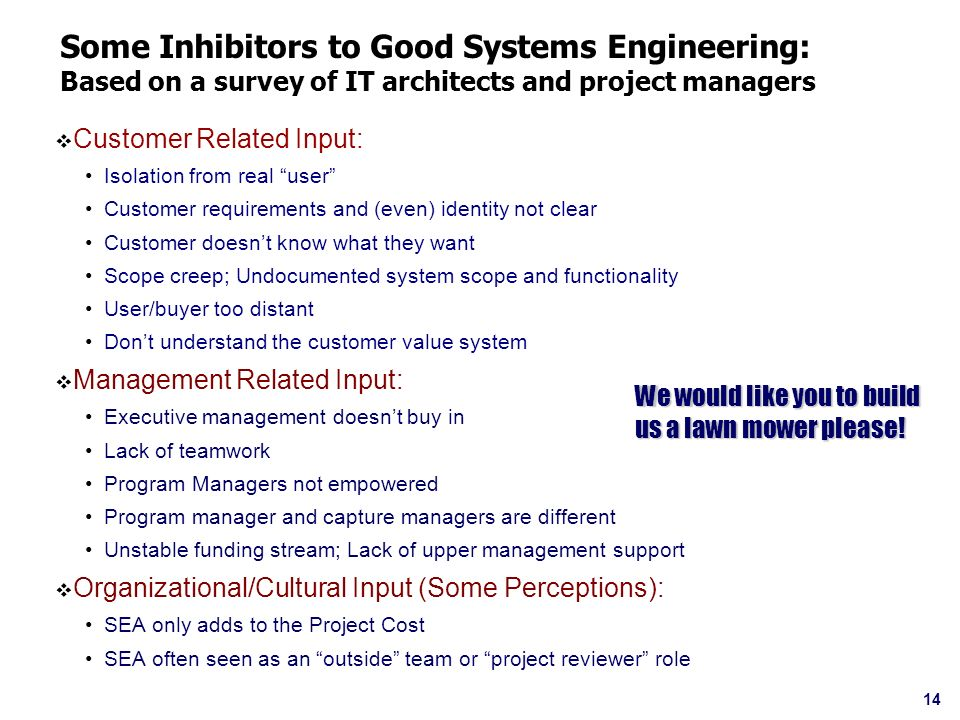 Some Inhibitors to Good Systems Engineering: