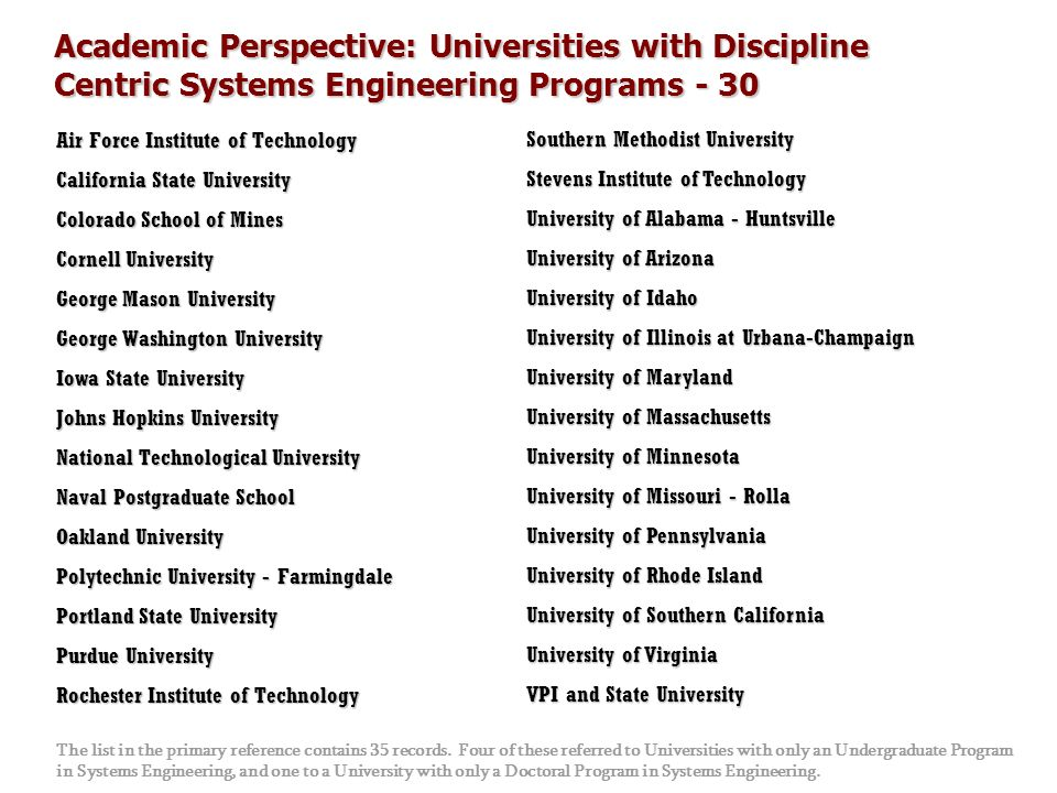 Academic Perspective: Universities with Discipline Centric Systems Engineering Programs - 30