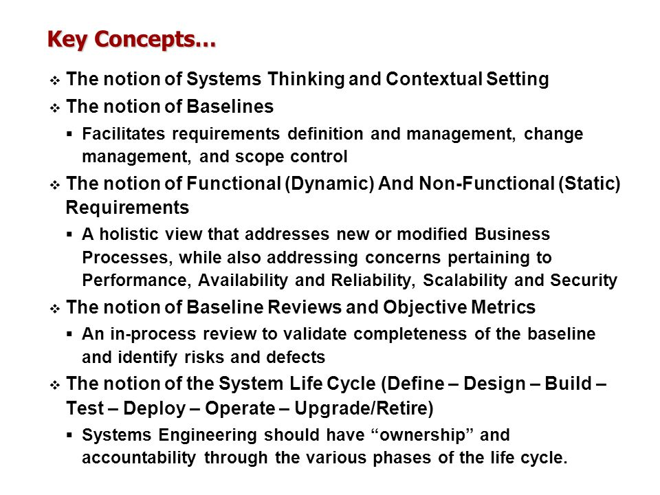 Key Concepts… The notion of Systems Thinking and Contextual Setting