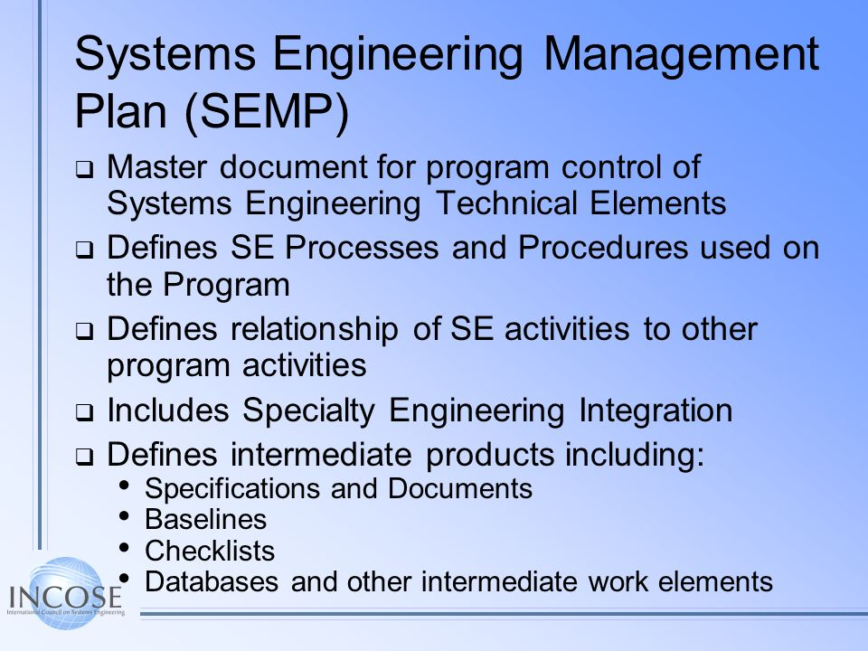 Systems Engineering Management Plan (SEMP)