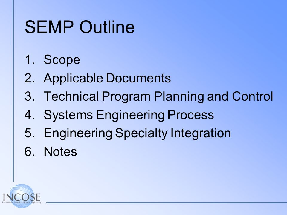 SEMP Outline Scope Applicable Documents