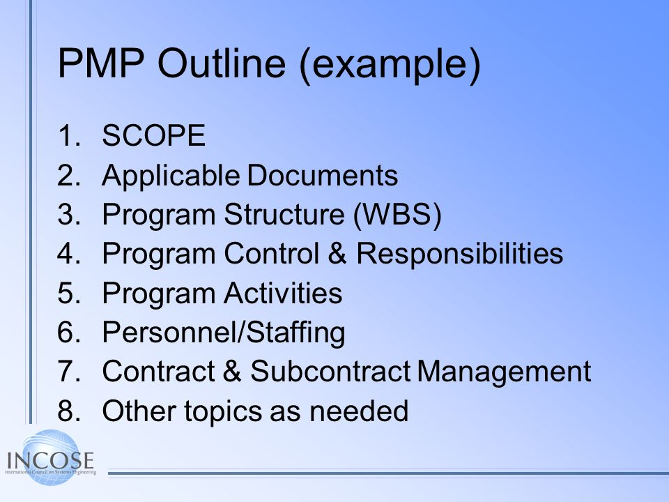 PMP Outline (example) SCOPE Applicable Documents
