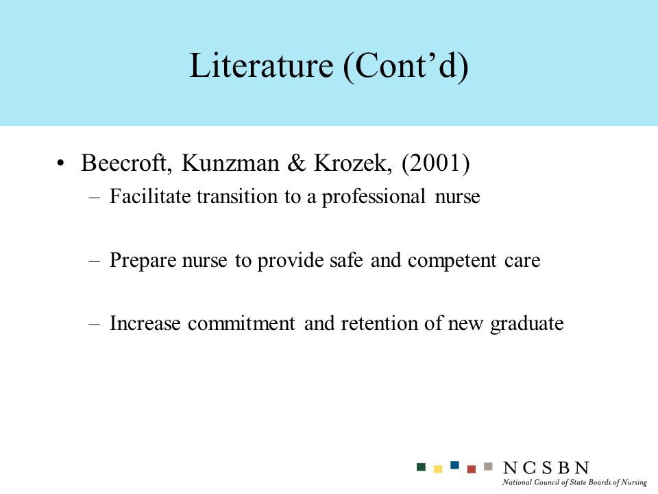 Literature (Cont'd) Beecroft, Kunzman & Krozek, (2001)