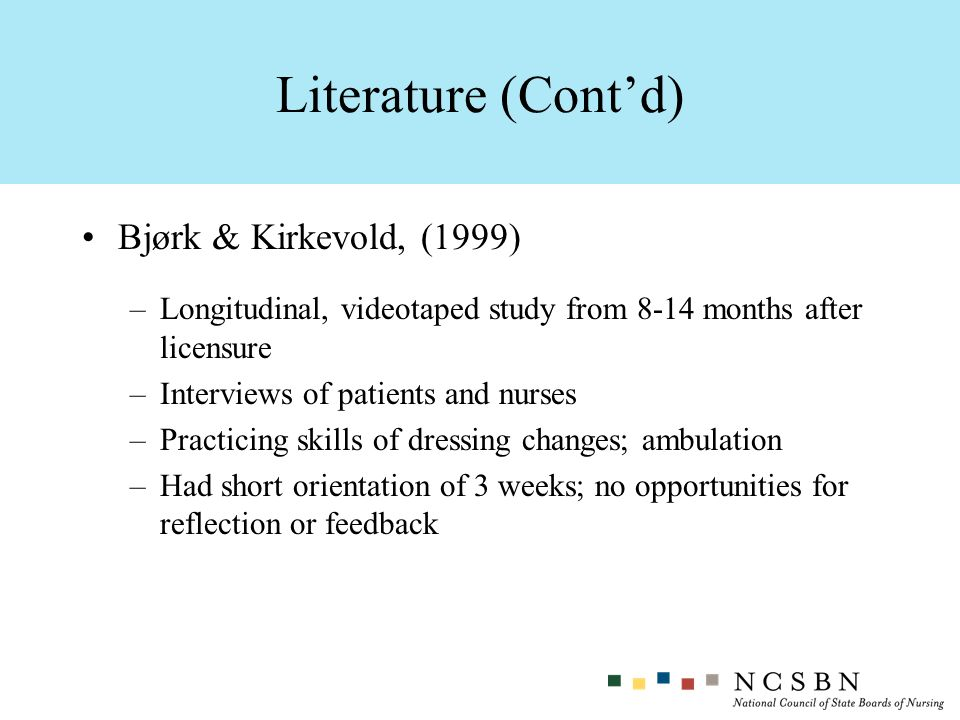 Literature (Cont'd) Bjørk & Kirkevold, (1999)