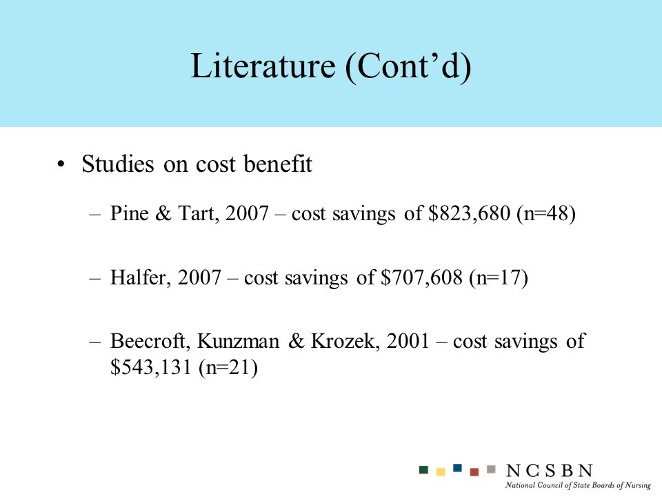 Literature (Cont'd) Studies on cost benefit