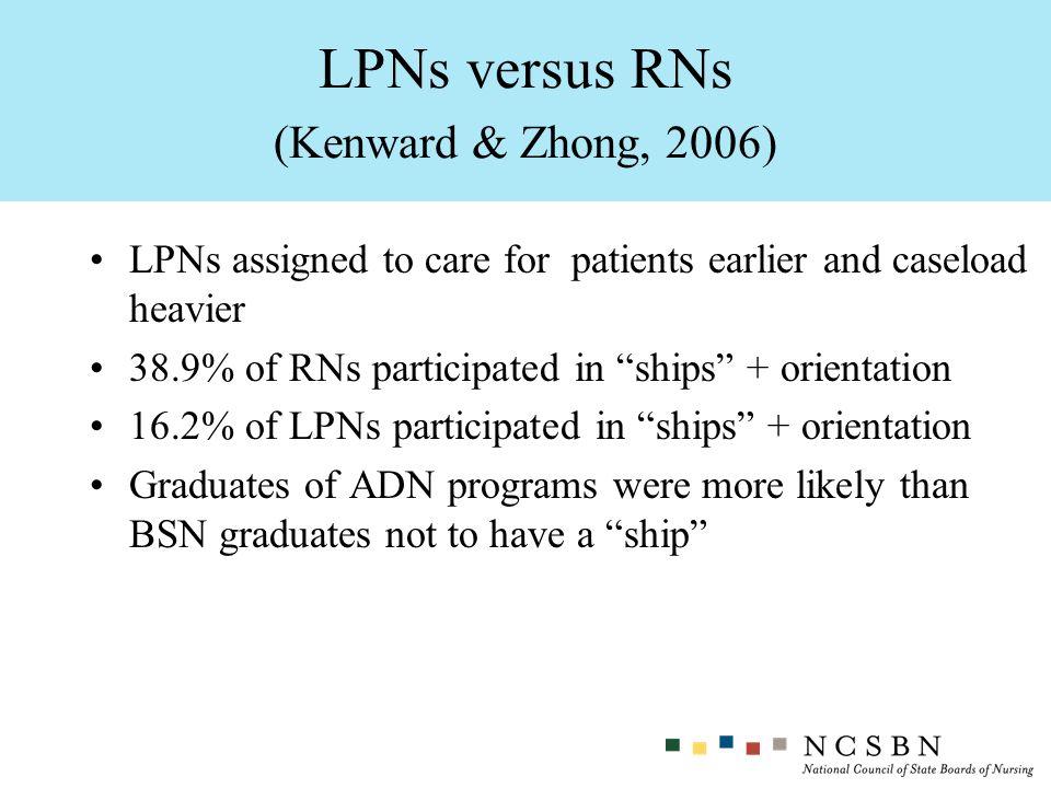 LPNs versus RNs (Kenward & Zhong, 2006)