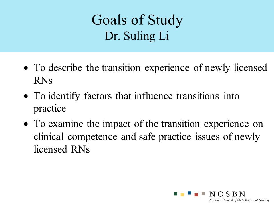 Goals of Study Dr. Suling Li