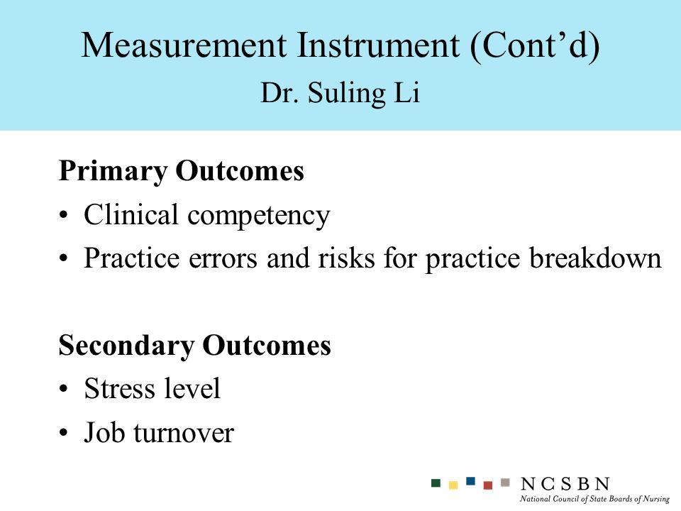 Measurement Instrument (Cont'd) Dr. Suling Li