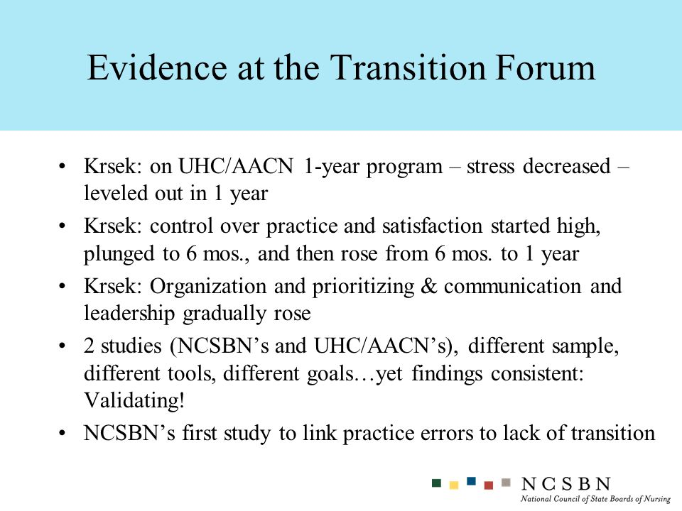 Evidence at the Transition Forum